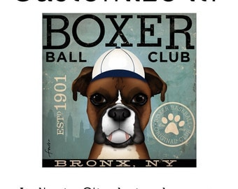 Boxer Baseball team graphic artwork on gallery wrapped canvas by stephen fowler