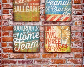 Set of 4 baseball typography word art graphic wall art  canvas panel 12 x 12 by stephen fowler