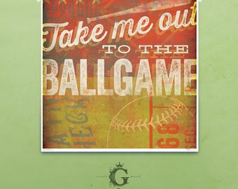Take Me out to the Ballgame Baseball art giclee signed artist's print by stephen fowler