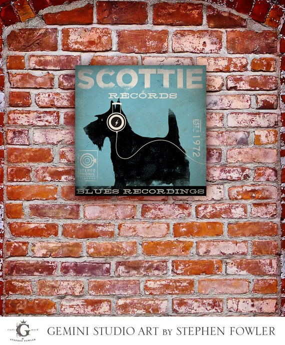 Scottie records Scottish Terrier dog album style graphic artwork on gallery wrapped canvas  by stephen fowler