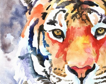 Tiger Art Print of Original Watercolor Painting - 11x14 Signed by Artist