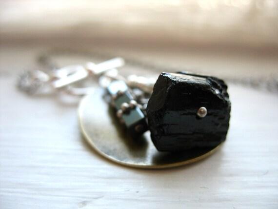 Stone Metalwork Charm Necklace, Black Tourmaline Hematite Stone Handmade Metalwork Pendant ChainNecklace, Tourmaline Jewelry, FREE Shipping