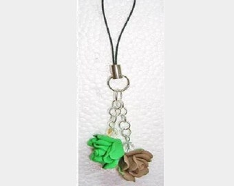 Green and Brown Rose Crystal Cell Phone Charm