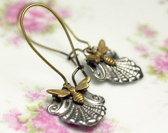 Victorian bee earrings antique vintage style brass