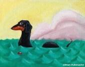 Dachshund art print, The Dach-ness Monster - Dachshund dog art
