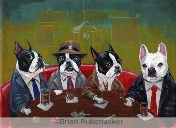 three boston terriers and a french bulldog print by brian