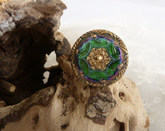 Button Ring - Gold Green - Purple  vintage Glass  Button -  Adjustable