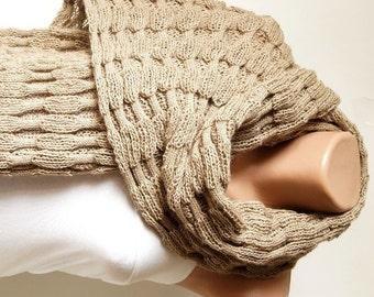 Beige Scarf,  Camel Scarf, Shawl, Knitting Fabric Scarf
