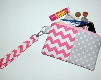Chevron and Polka Dot (Pink and Gray) - Wristlet Purse with Removable Strap and Interior Pocket