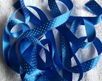 Royal Blue and White Microdot Ribbon. 15mm x 2 metres