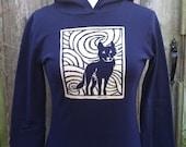 Midnight Wolf Long Sleeve Navy Women's Hoodie