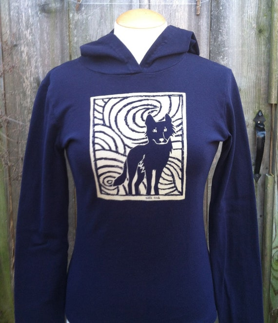 Midnight Wolf Long Sleeve Navy Women's Hoodie