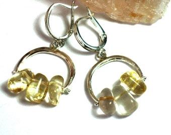 Silver Citrine Earrings,Yellow Citrine, Dangle Earrings, Silver Earrings Dangle, Yellow Citrine Earrings, Citrine Earings, Citrine Jewelry