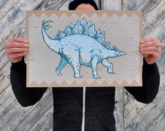 Screenprint - Wall Art - Art Print - Dinosaur Print - Stegosaurus - Childrens room