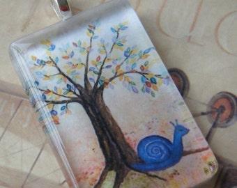 NEW  Violet Snail Original Watercolor Art Glass Tile Necklace