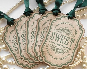St Patricks Day Tags, Paddys Day Tags, Candy Sweet Tags, Vintage Inspired Tags, Green Favor Tags, Green Wedding Favors, Party Bag Labels