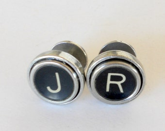 Cuff links Vintage Typewriter Keys Groom Wedding Party Monogram Custom Father Graduate