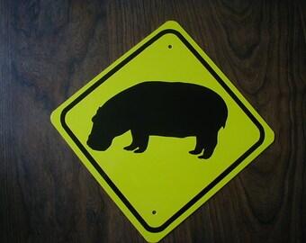 HIPPO  Zoo animal aluminum mini sign    Free Shipping
