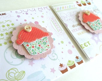 Tempting Cupcake Mini Cards - Set of 2 Note Cards
