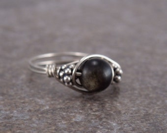 Sterling Silver Golden Obsidian and Bali Bead Ring