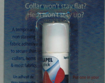 Lapel Stick non-staining fabric adhesive to secure shirt, collars, hems and most fabric