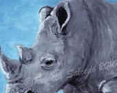ACEO Print Tiny Art Print Impressionist Rhino by Rebecca Salcedo  FFAW