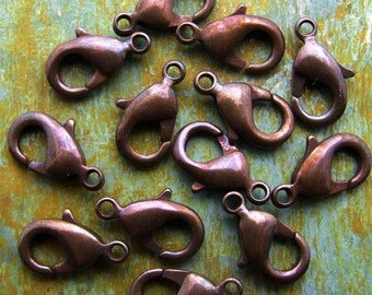 12mm Lobster Clasps - Hand Antiqued Solid Brass - Patina Queen - 4