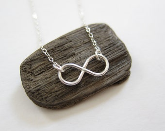 Handmade Tiny Delicate Silver Infinity Charm Pendant Sterling Choker Necklace Customized made in US young women's lady teen religion peace