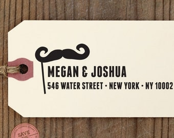 "CUSTOM ADDRESS STAMP - Eco Friendly & self inking, gifts for wedding, housewarming, etsy labels, return address stamp ""Mustache1"""