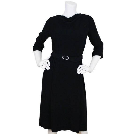RESERVED 50's Vintage Leslie Fay Black Rhinestone Belt Cocktail Dress