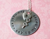 Handstamped Key to My Heart Necklace