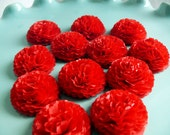 Button Mums Tissue Paper Flowers 1 inch Candy Apple Red Wedding, Bridal Shower, Baby Shower Decor