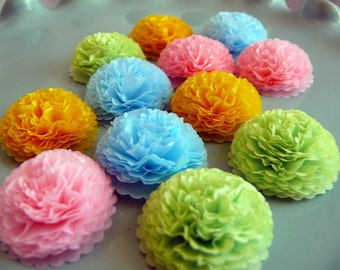 Button Mums Tissue Paper Flowers  Pastel Spring Decorations