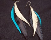 Long Feather Earrings - turquoise, brown and tan leather feathers