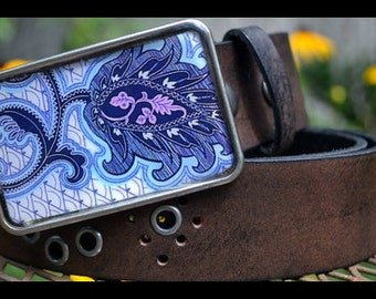 The Frenchie Belt - Leather Belt with Delicate Blue Paisley Swirl Buckle