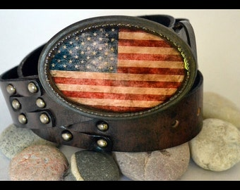 The Betsy R Belt - Vintage American Flag Buckle with Distressed Black Leather Belt.