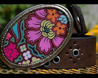 The Brigitta Belt -  Leather Belt with Bold and Bright Pink and Orange Buckle