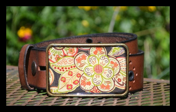 The Myrna Belt - Graphic Flower Buckle with Brown Leather Belt