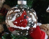 Cardinal Ornament Christmas Winter Glass Stocking Stuffer,coworker gift,birds,bird lovers,tree ornament gift,hostess gift,Hand Painted-Large