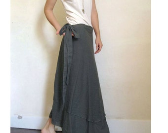 Hippie Gypsy Gray or Grey   soft  cotton  baissed   two layers circle long wrap skirt  S-L(H)