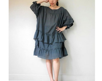 Dark Slate Blue  cotton Ruffle Loose Tunic dress ((BR1)