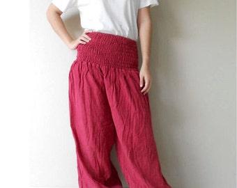 Hippie Gypsy Red Cotton Long Smock waist  Aladdin  Summer Pants (AP 9)