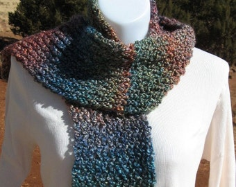 Hand Made Loom Knit Hat And Scarf Set - Nouveau - Reds Blues Greens Golds Purples