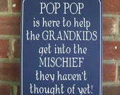 Pop Pop is Here Wood Sign Wall Decor Grandfather Plaque Personalized Grandparent Gift Father's Day