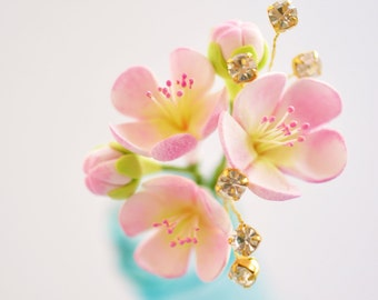 Made to Order - Pink Cherry Blossom Hair Pin with Handwired Rhinestones with Gold Settings