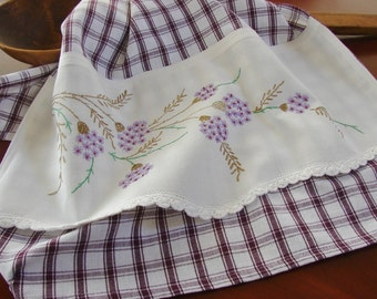 Recycled Vintage Pillowcase to Upcycled Tea Towel - Wildflowers - Homespun Home Decor