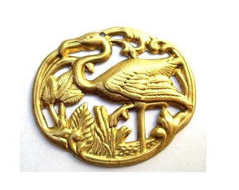 Vintage metal water bird,  metal stamping finding 35mmx30mm