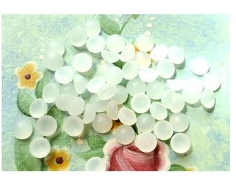 14 Vintage glass cabochons frosted white 6mm