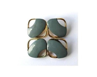 10 Vintage plastic buttons square shape blue with gold color 13mm
