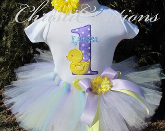 1st Birthday Girl Outfit - Rubber Ducky - Baby Girl Tutu